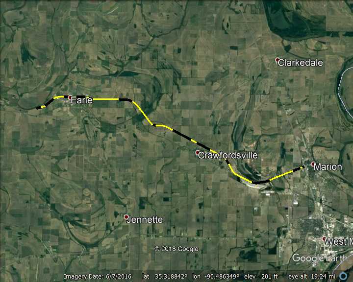 Multiple Segments of US-64, Crittenden County, AR diplayed on Google Earth