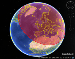 KML Circle showing the 6,000 Km coverage of the Pechora Radar Station on Google Earth.  Map Data: Google Earth, Landsat/Copernicus